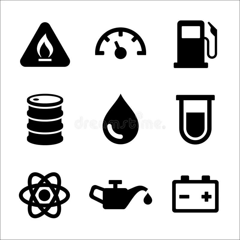 Gasoline Diesel Fuel Service Station Icons Set. Stock