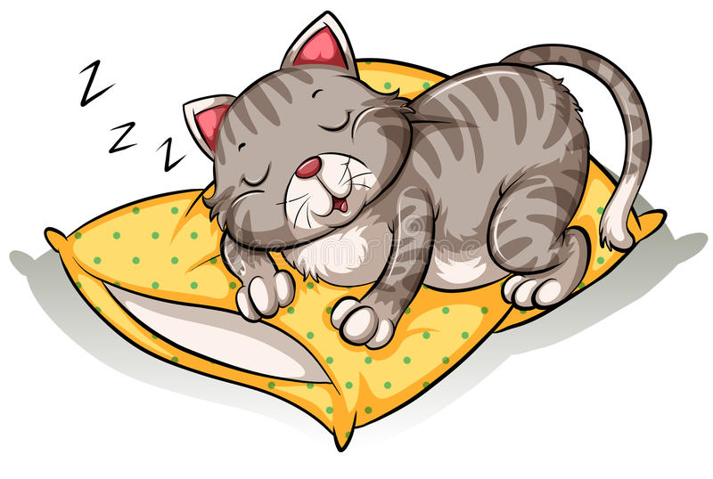 Gatto Che Dorme Sopra Il Cuscino Illustrazione Vettoriale