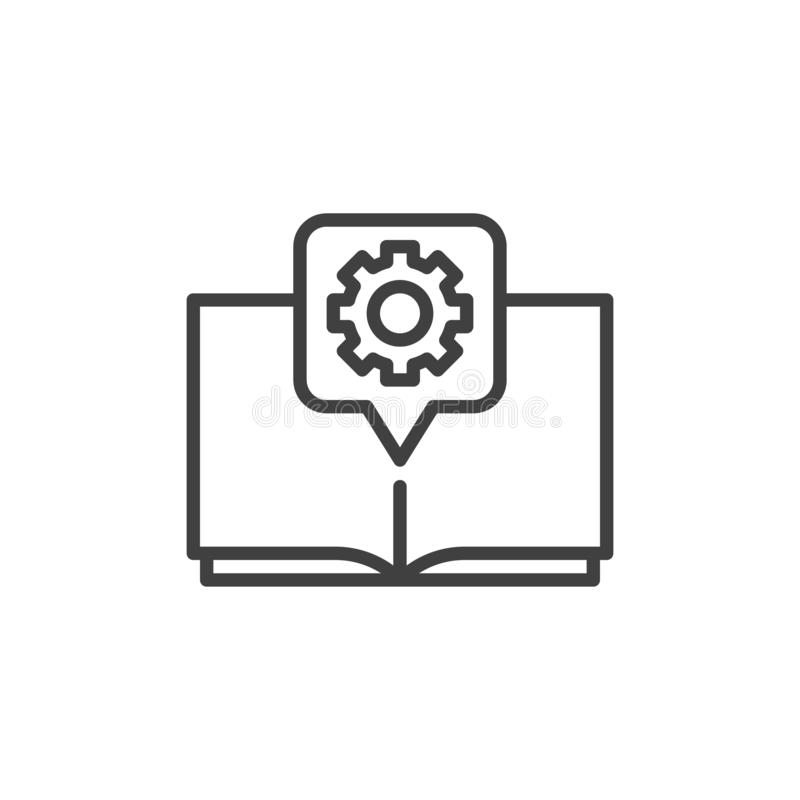 Manual Book With Gear Outline Icon Stock Vector