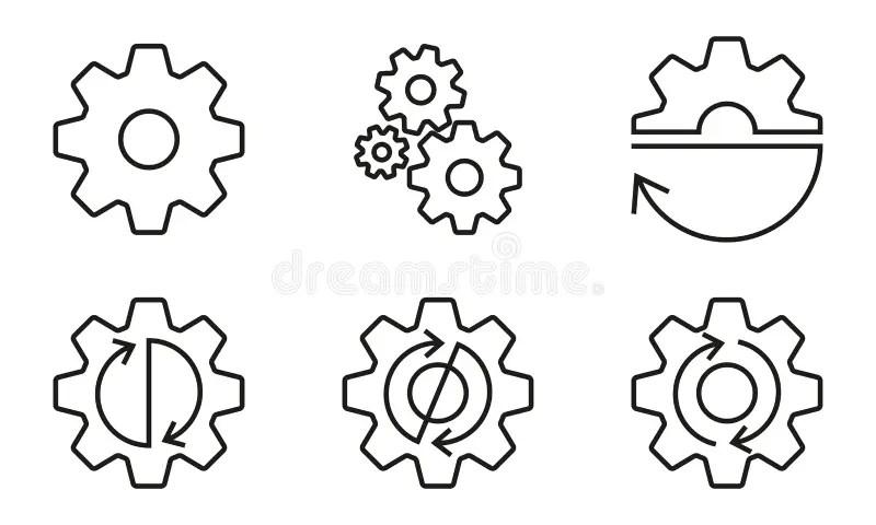 Set of gear wheels stock vector. Illustration of progress