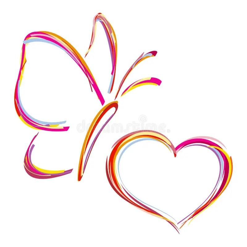Gemaltes Herz Und Schmetterling Lizenzfreie Stockbilder
