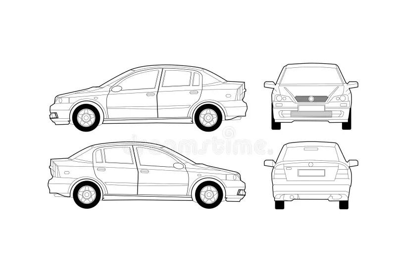 Generic Saloon Car Diagram stock vector. Illustration of