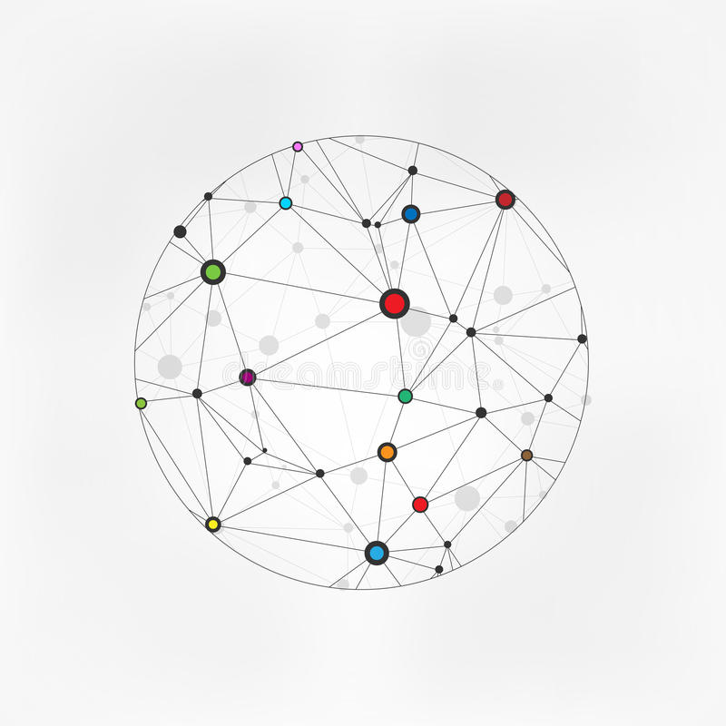 Vector Wireframe Connecting Earth Sphere. Globe Connection