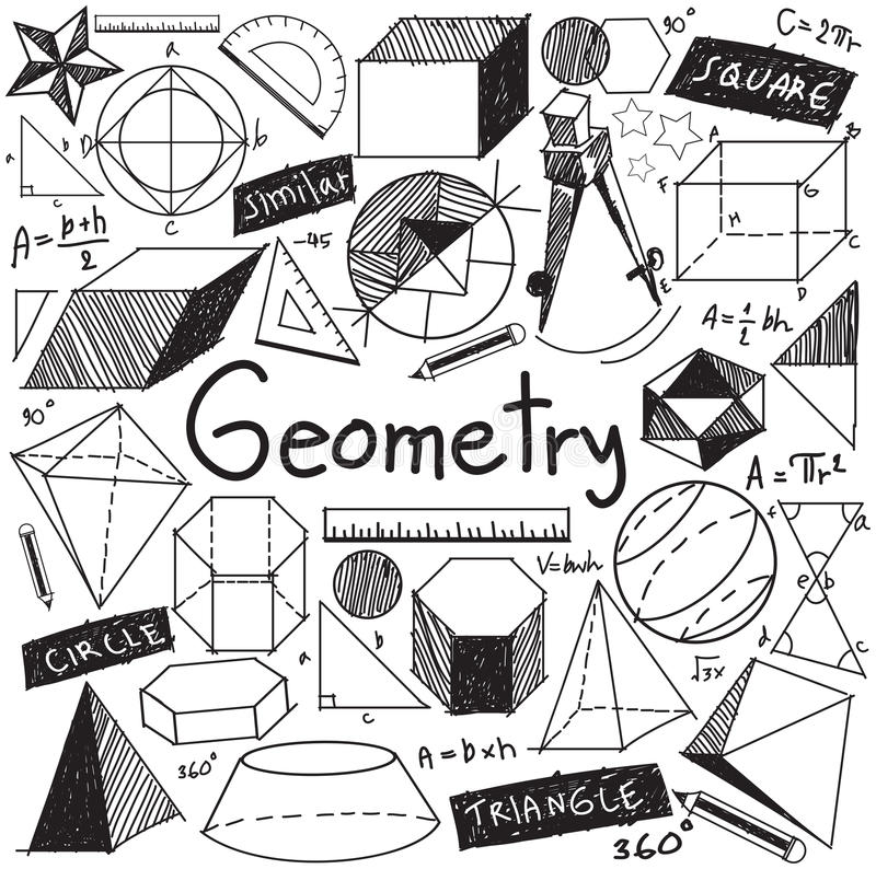 Geometry Math Theory And Mathematical Formula Doodle