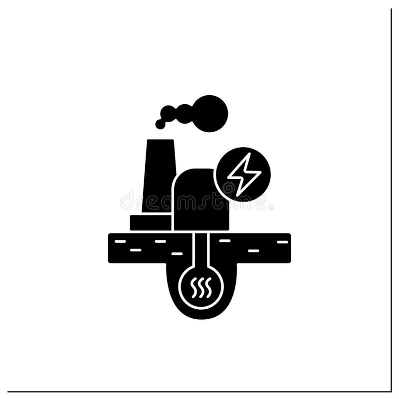 Geothermal power plant stock vector. Illustration of