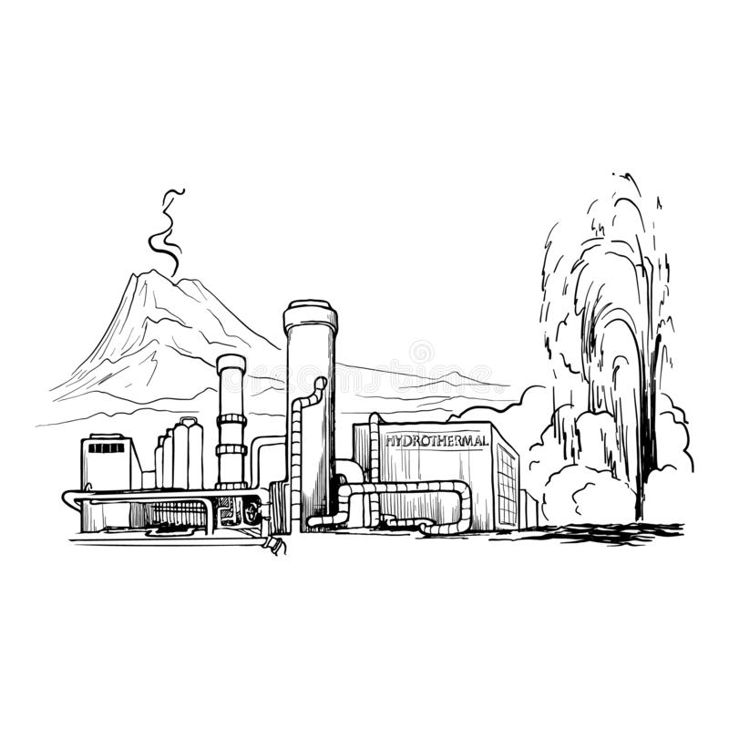 Geothermal power station stock vector. Illustration of