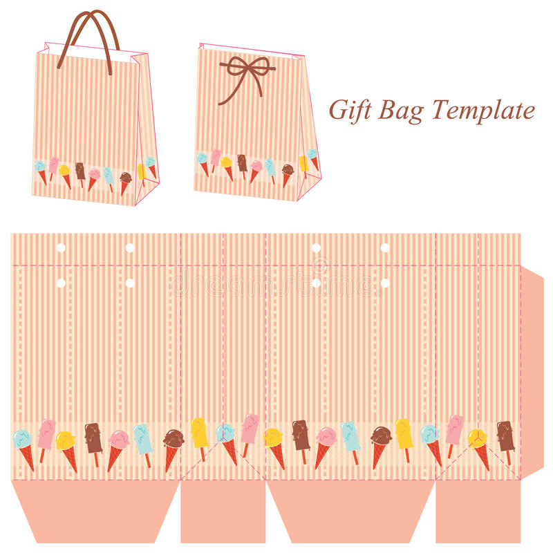 Gift Bag Template With Stripes And Colorful Ice Cream