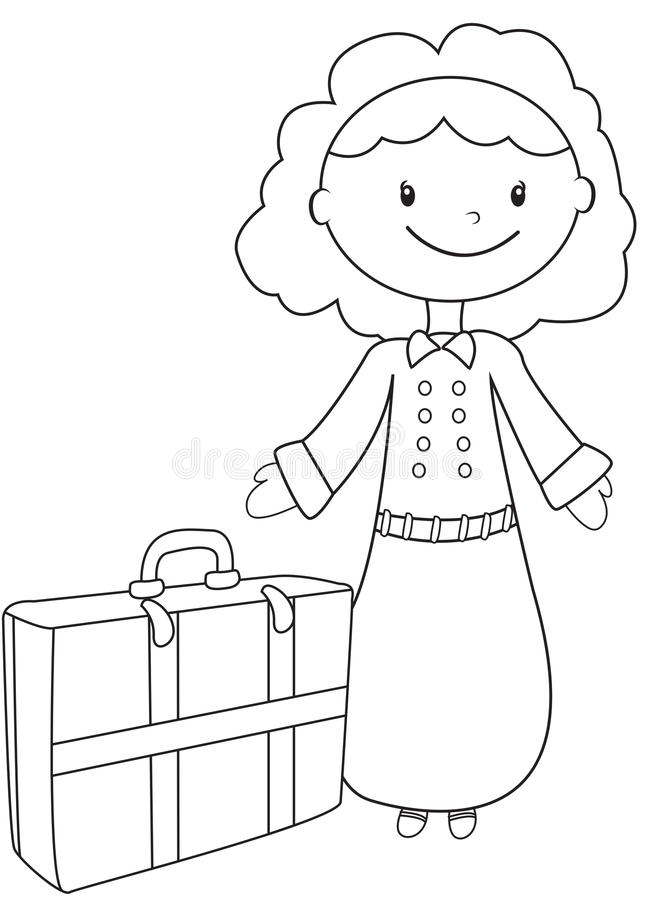Children Accessories Coloring Page Stock Illustration