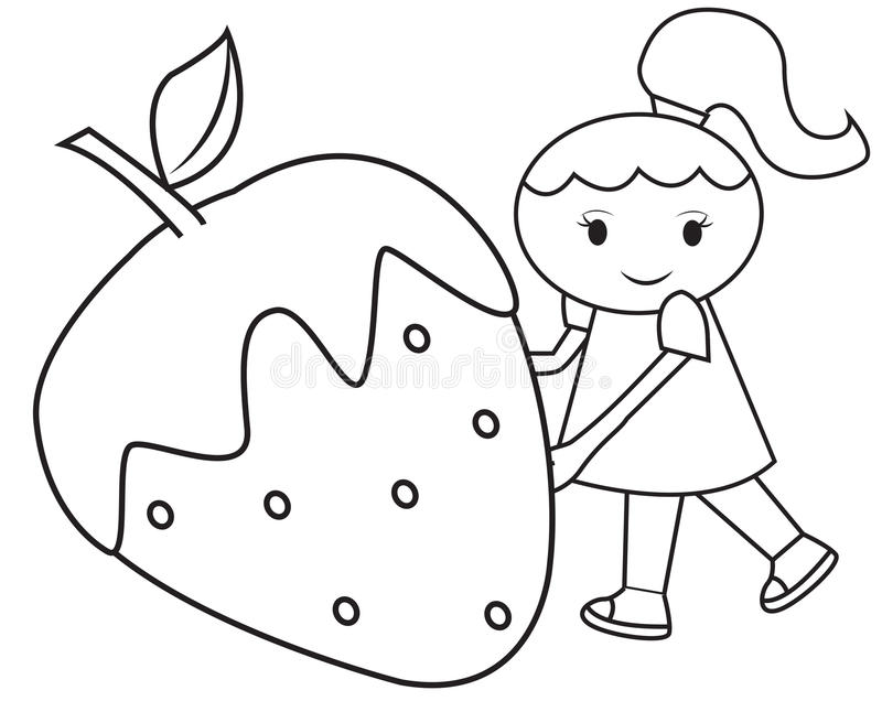 The Girl And The Big Strawberry Coloring Page Stock