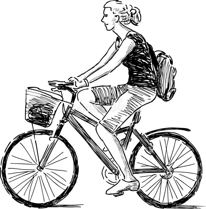 Girl On The Bike Stock Vector Illustration Of Recreation