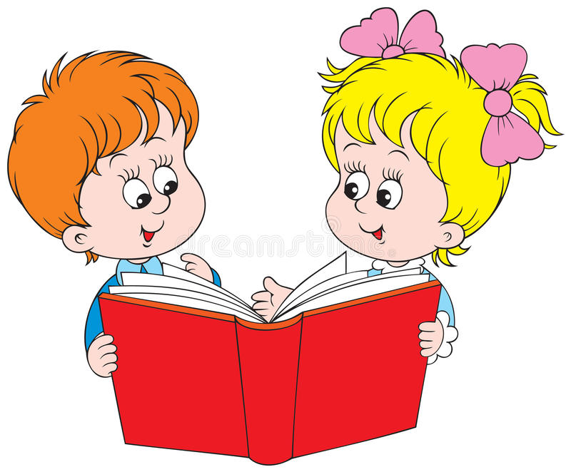 Girl And Boy Reading The Red Book Stock Vector