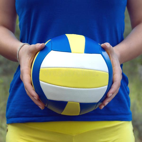 Girl Holding Colorful Sports Ball Volleyball