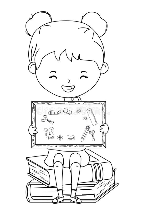Kid and blackboard stock vector. Illustration of active