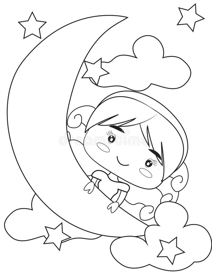 School girl coloring page stock illustration. Illustration