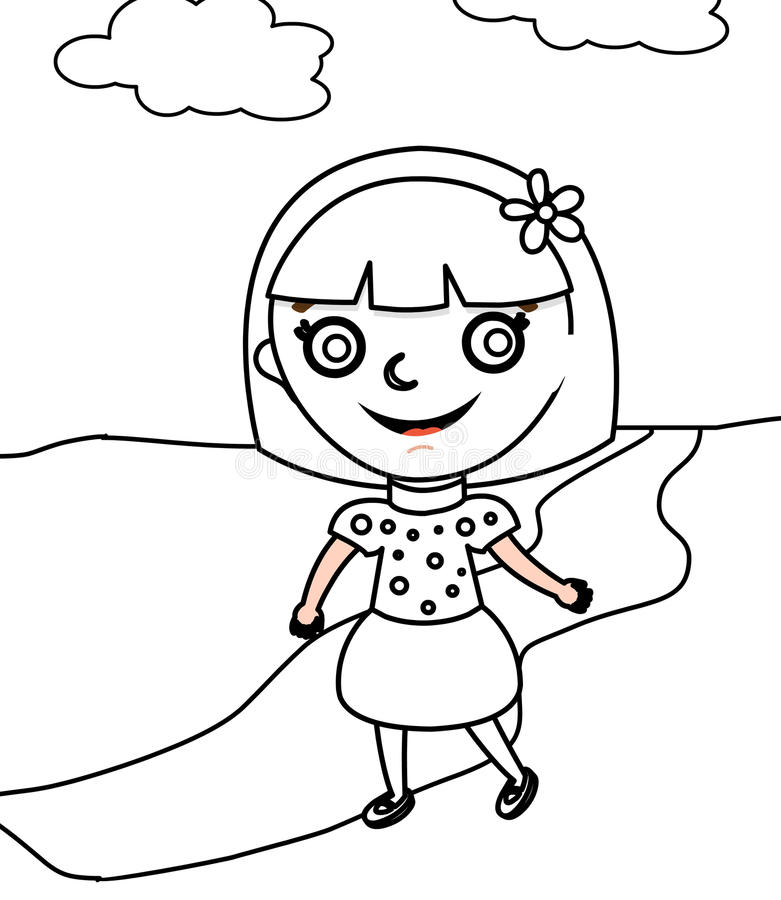 Girl In A Polka Dots Dress Coloring Page Stock