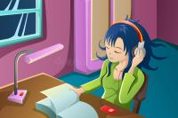 Girl Reading A Book While Listening To Music Stock Vector ...