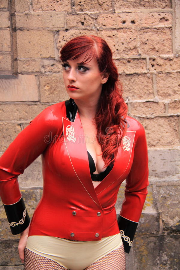 Girl Wearing Red Latex Dress Editorial Photography Image