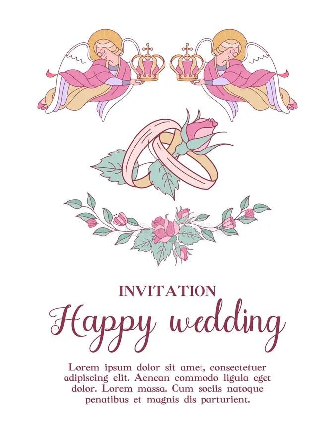 HochzeitsEinladungsGoldrandEngel Stock Abbildung