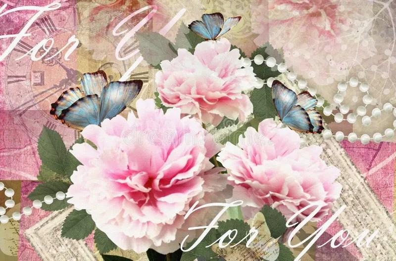 Glckwnsche Kardieren Mit Pfingstrosen Schmetterlingen