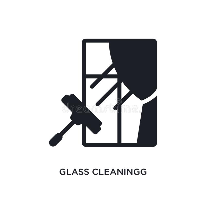 Glass cleaning with sponge stock vector. Illustration of