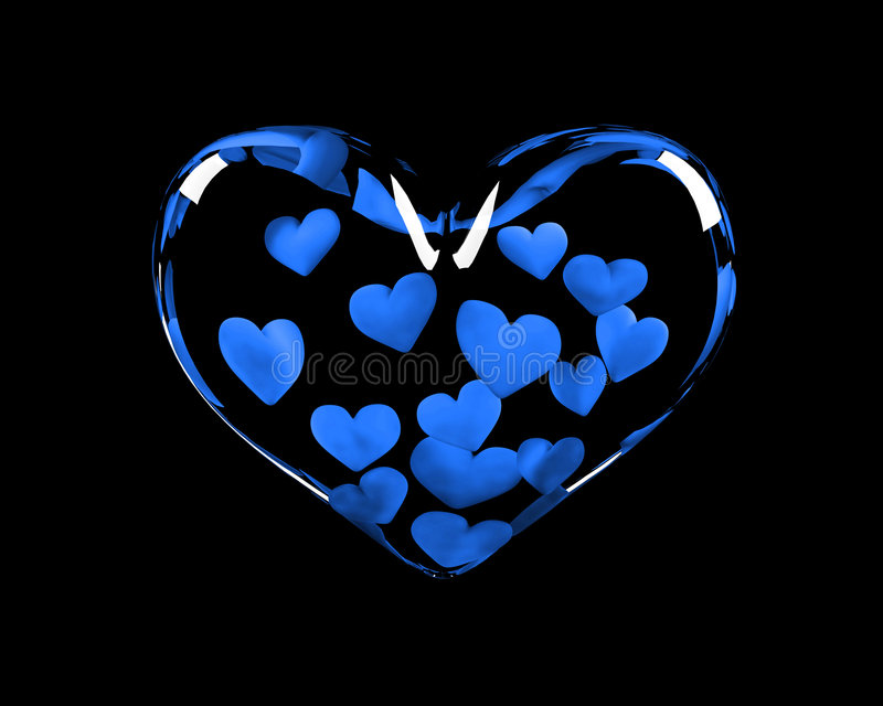 Love Propose Quotes Wallpaper Glass Heart With 14 Blue Hearts Inside Stock Illustration