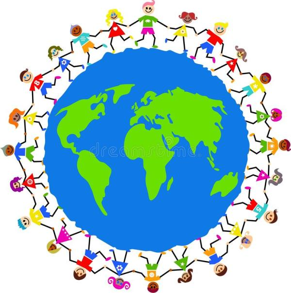 Clip Art Kids Holding Hands around the World