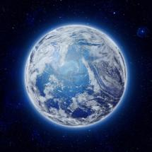 Global World In Space Blue Planet Earth With Clouds