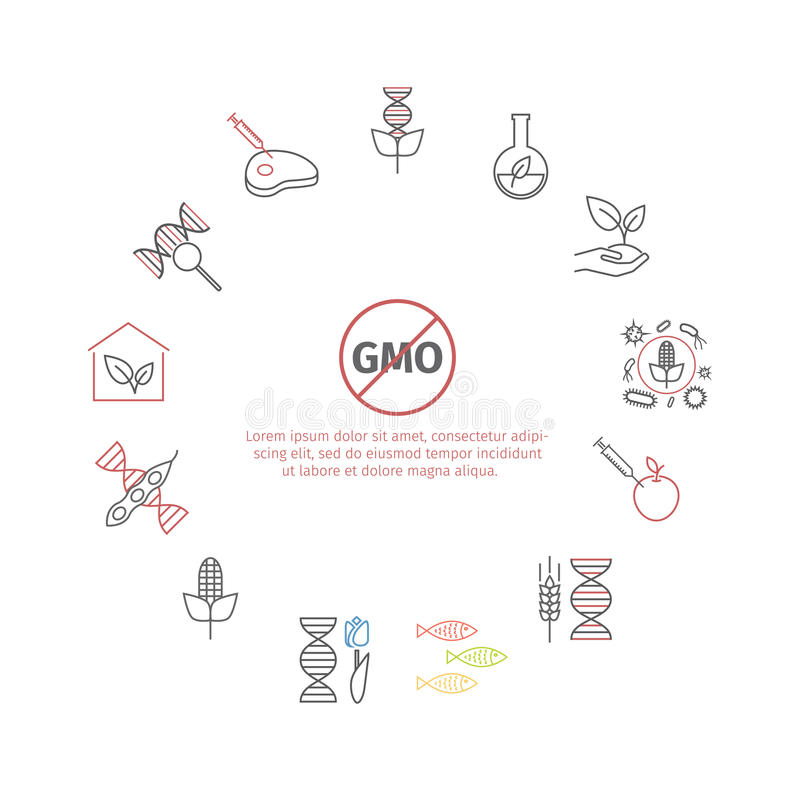GENETICALLY MODIFIED ORGANISM Concept Stock Illustration