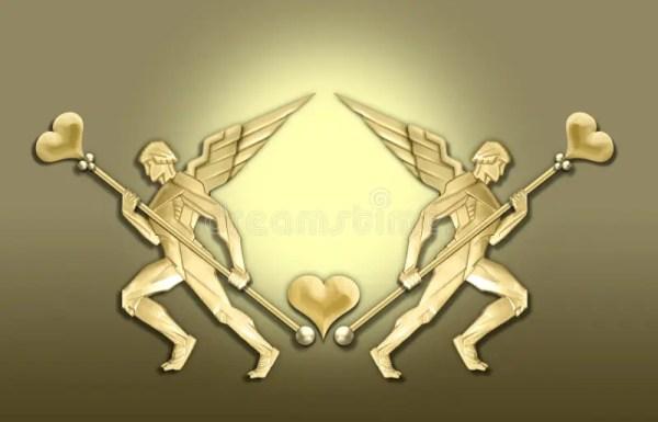 Golden Art Deco Angel Heart Frame Stock Illustration