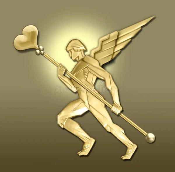 Golden Art Deco Angel Wheart Stock Illustration Image