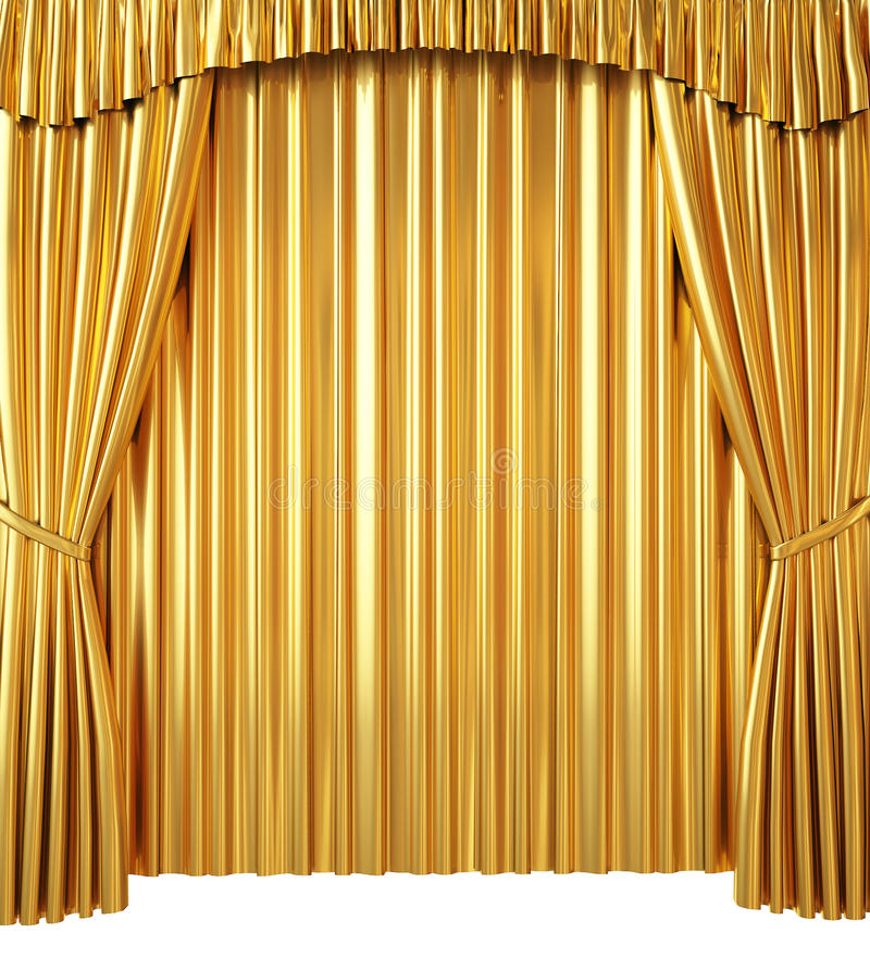 Golden Curtain On White Background Stock Illustration