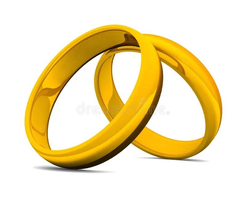 Goldene Ringe 3D Fr Hochzeit 05 Stock Abbildung