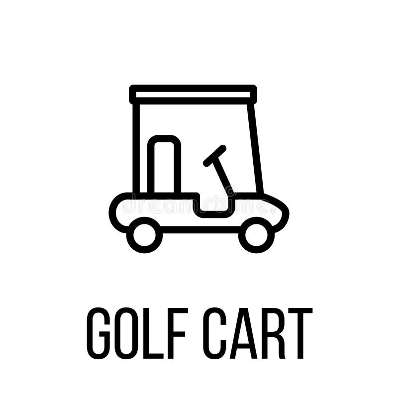 Golf Cart Icon Or Logo In Modern Line Style. Stock Vector