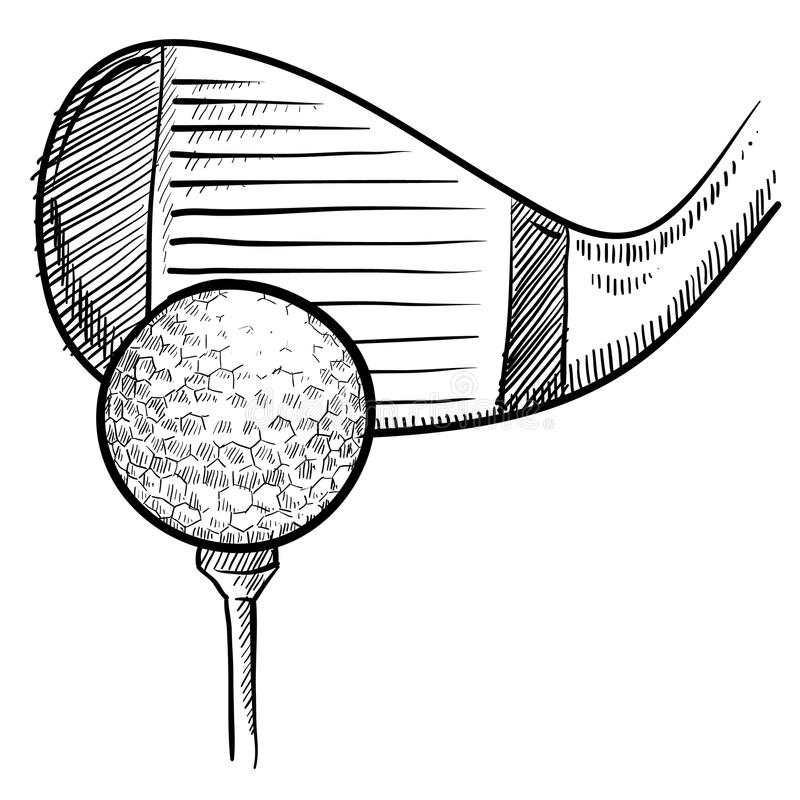 Golf club and ball sketch stock vector. Illustration of