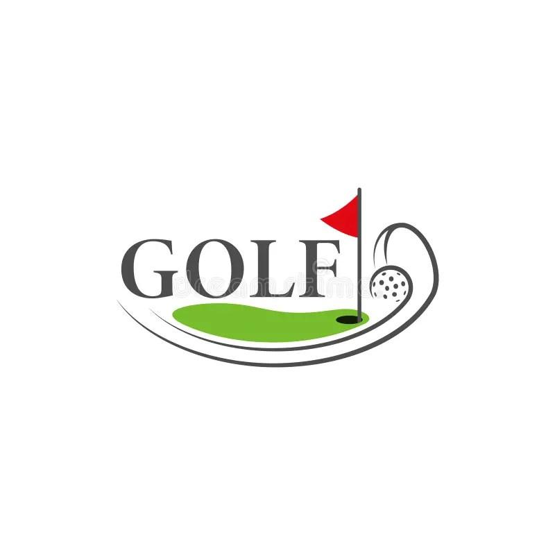 Template Golf Logo. Funny Cartoon Colored Logo. Stock