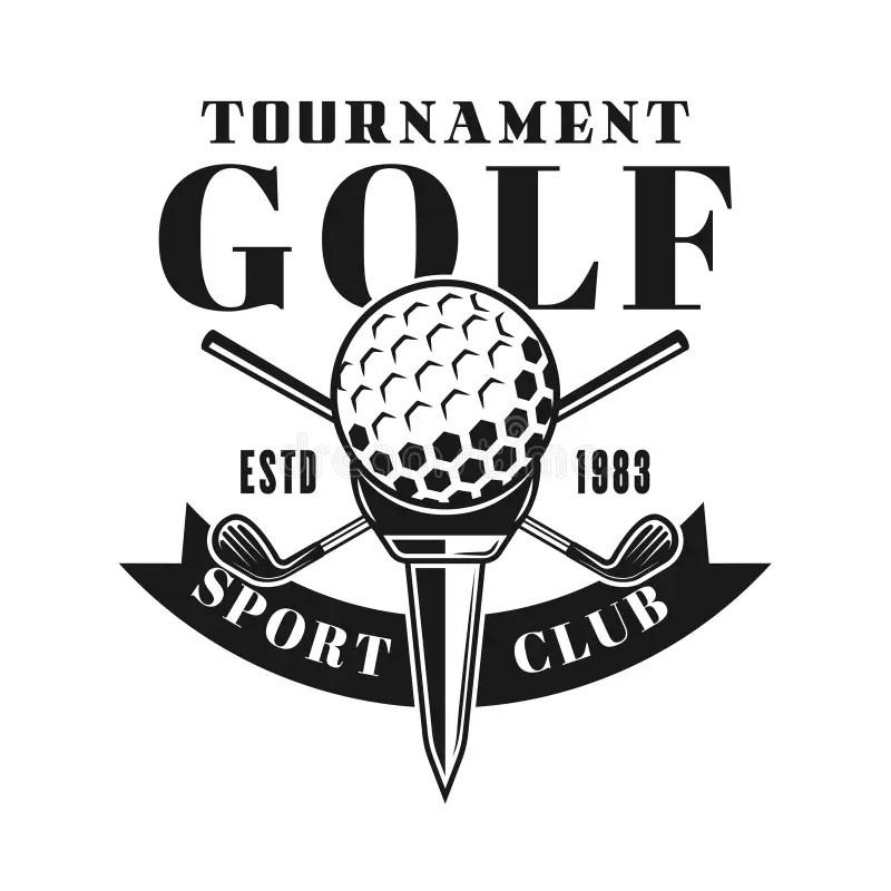 Golf Tournament Vector Shield Emblem With Car Stock Vector