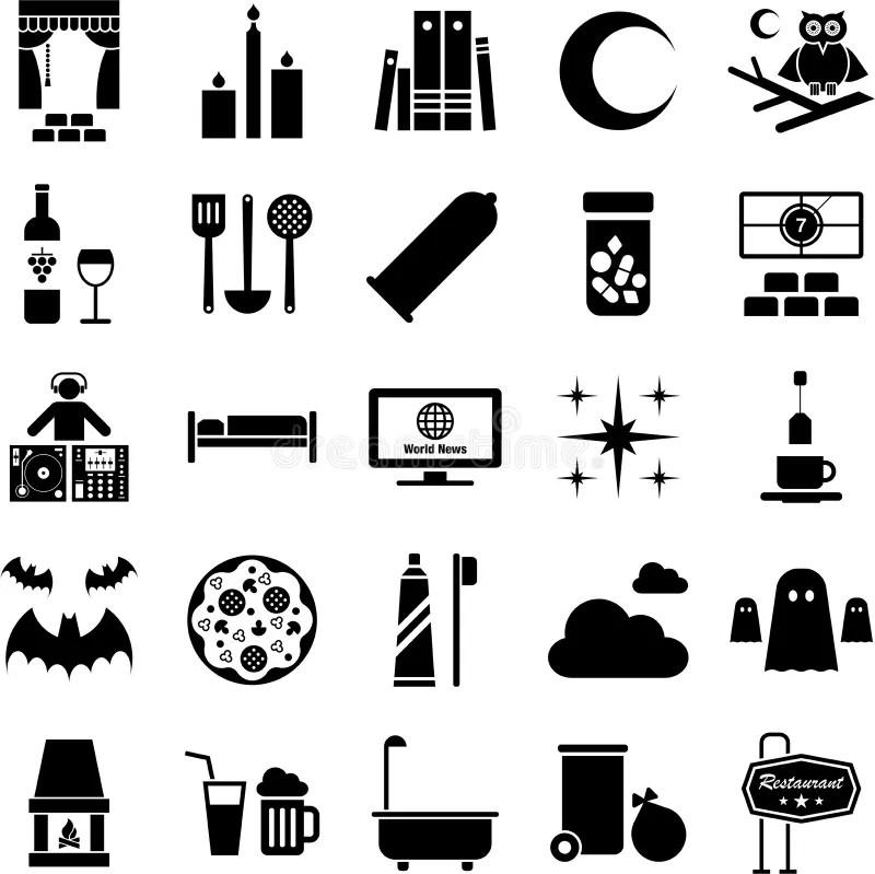 Good night icons stock vector. Illustration of dance