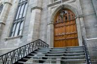 Gothic Church Entrance Door Stairway Wide Angle Stock ...
