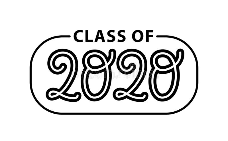 Class Of 2020. Hand Drawn Brush Lettering Graduation Logo