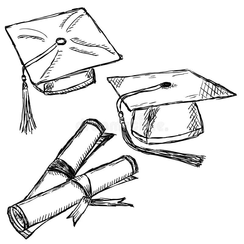 Graduation cap doodle stock vector. Illustration of