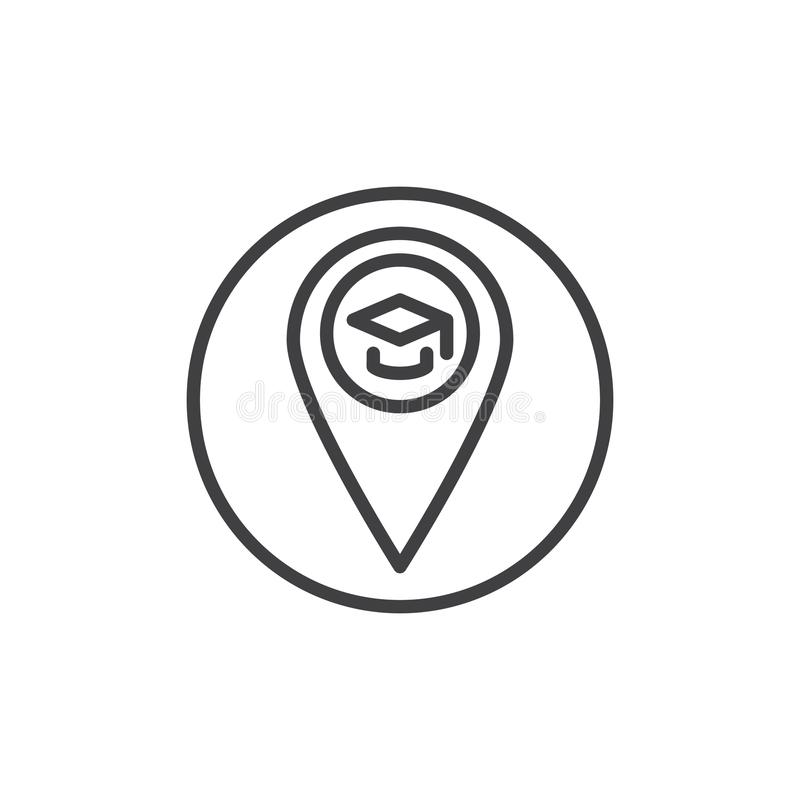 Graduation Cap Line Icon, Outline Logo Illustration, Line