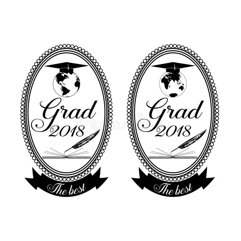 Graduation Emblem, Badge Design Template Stock Vector