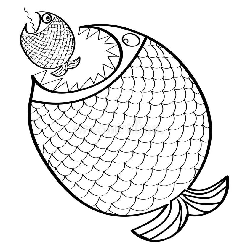 Grandi Pesci Che Mangiano Un Piccolo Pesce Illustrazione