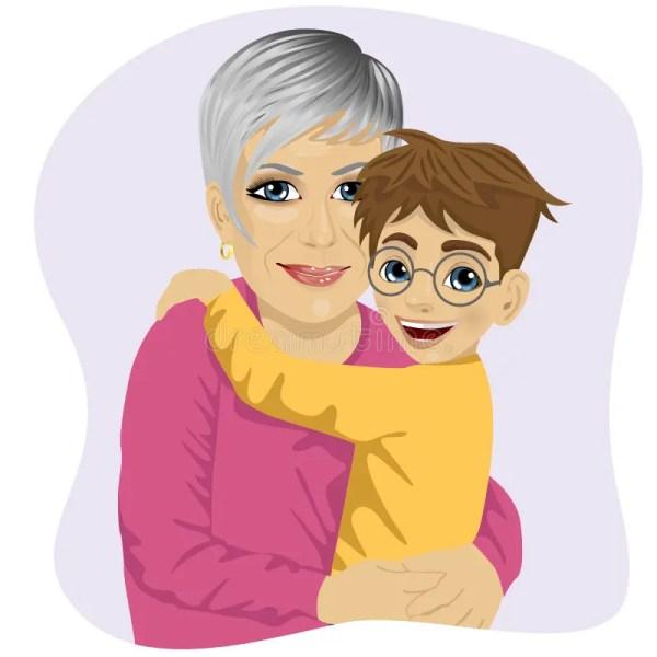 Grandmother Hugging Cute Grandson Stock Vector
