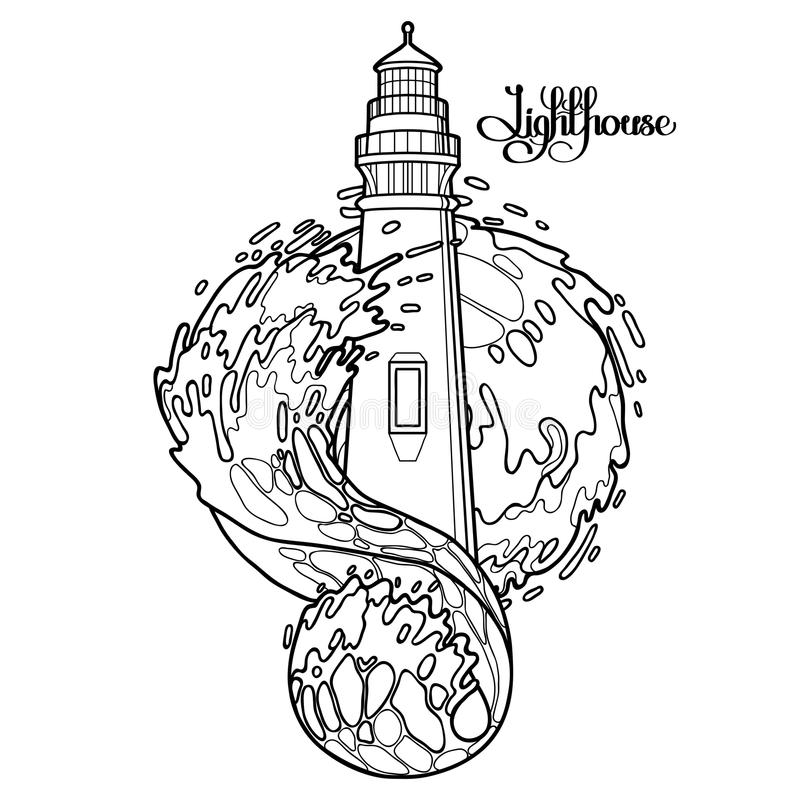 Graphic Lighthouse During A Storm Stock Vector