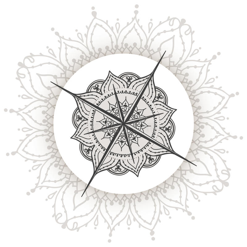 Graphic Wind Rose Compass Drawn With Floral Elements Stock