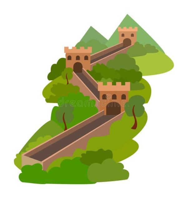 Great Wall Of China. Vector Illustration. Stock