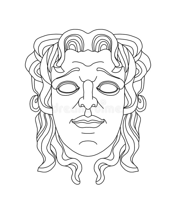 Greek Theatrical Mask Of A Young Man Stock Illustration