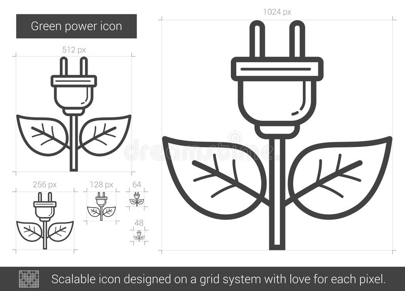 Green power line icon. stock vector. Illustration of