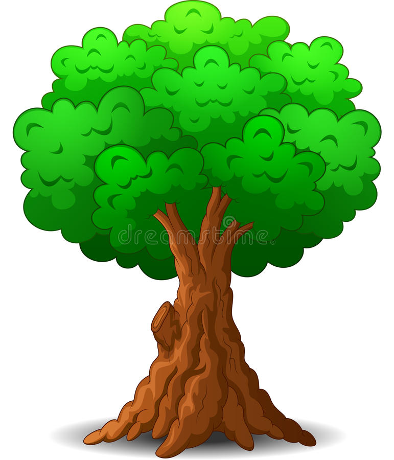 Green tree cartoon stock vector. Illustration of ground - 68887234